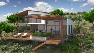 A rendering of a beach house in Ecuador